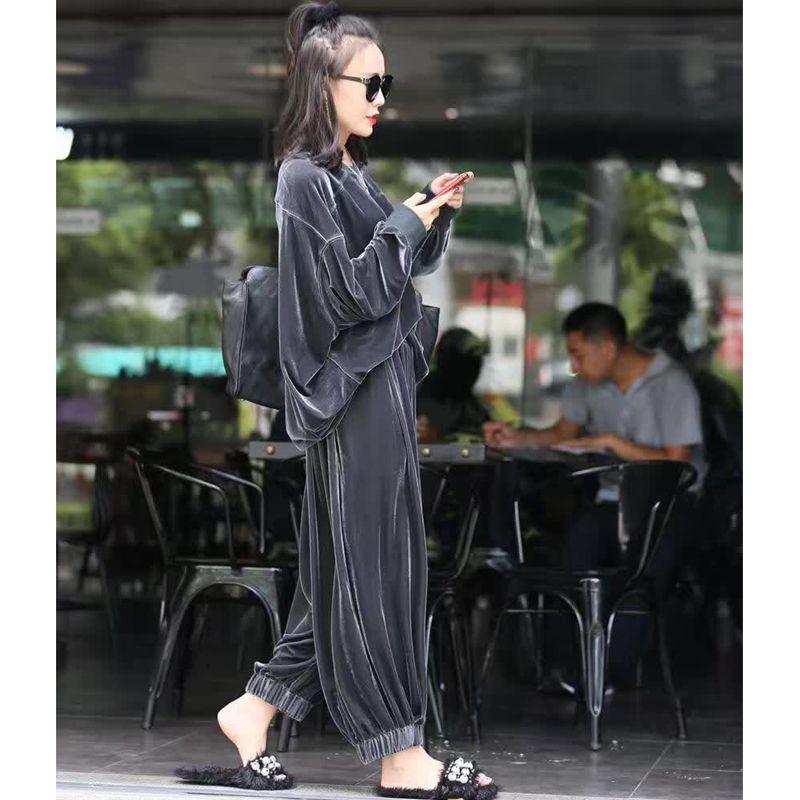 2018 automne nouvelle dame de velours cardigan et veste costume décontracté vert deux pièces ensemble solide manteau office Lady Blazer femme veste