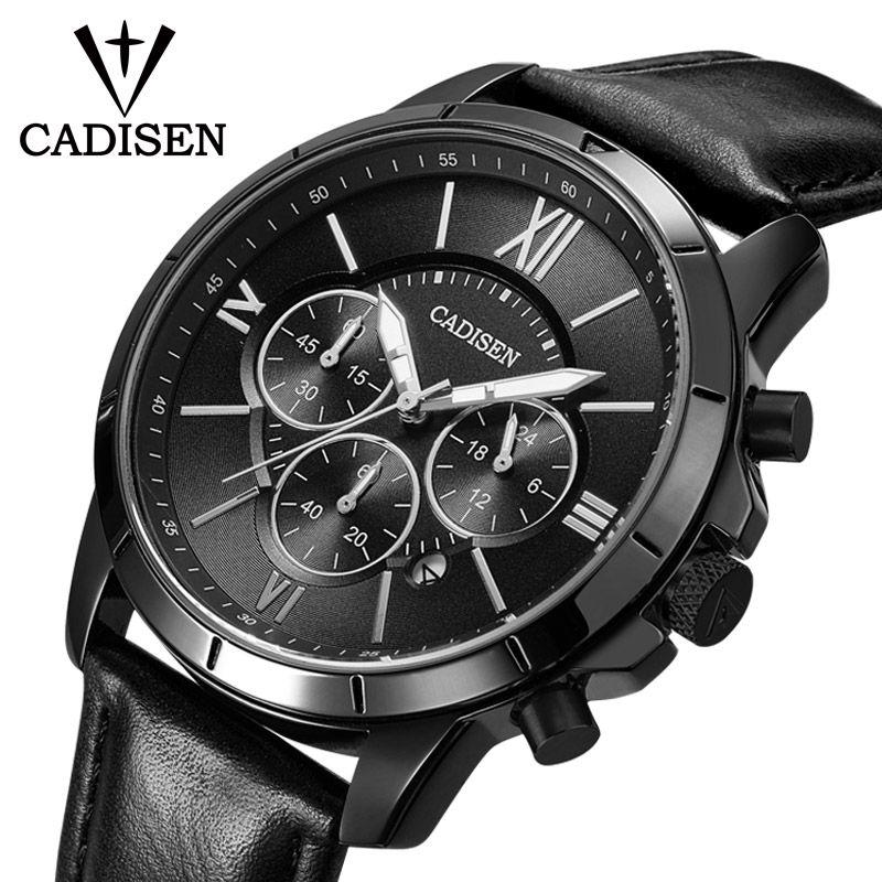 Men Watches CADISEN Top Hot Fashion Sport Brand Luxury Quartz Watch Men Leather Waterproof Military Wristwatch Relogio Masculino