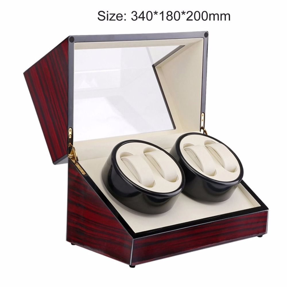 Wooden 2 Grid Motor Shaker Watch Winder Holder Display Automatic Mechanical Watch Winding Box Jewelry Automatic Watches Box