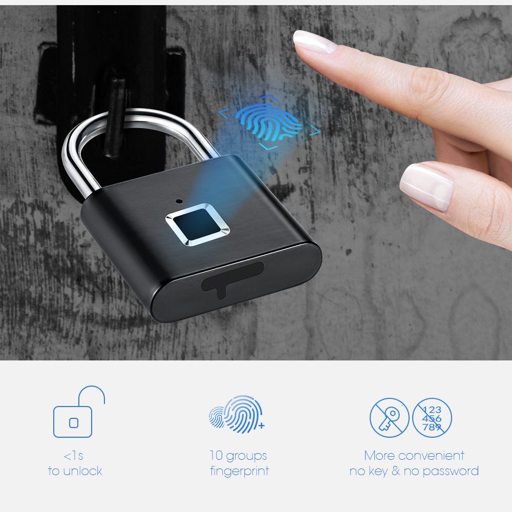 Cadenas intelligent d'empreinte digitale de serrure de porte Rechargeable d'usb sans clé de sécurité d'or déverrouillant rapidement la puce auto-développée en métal d'alliage de Zinc