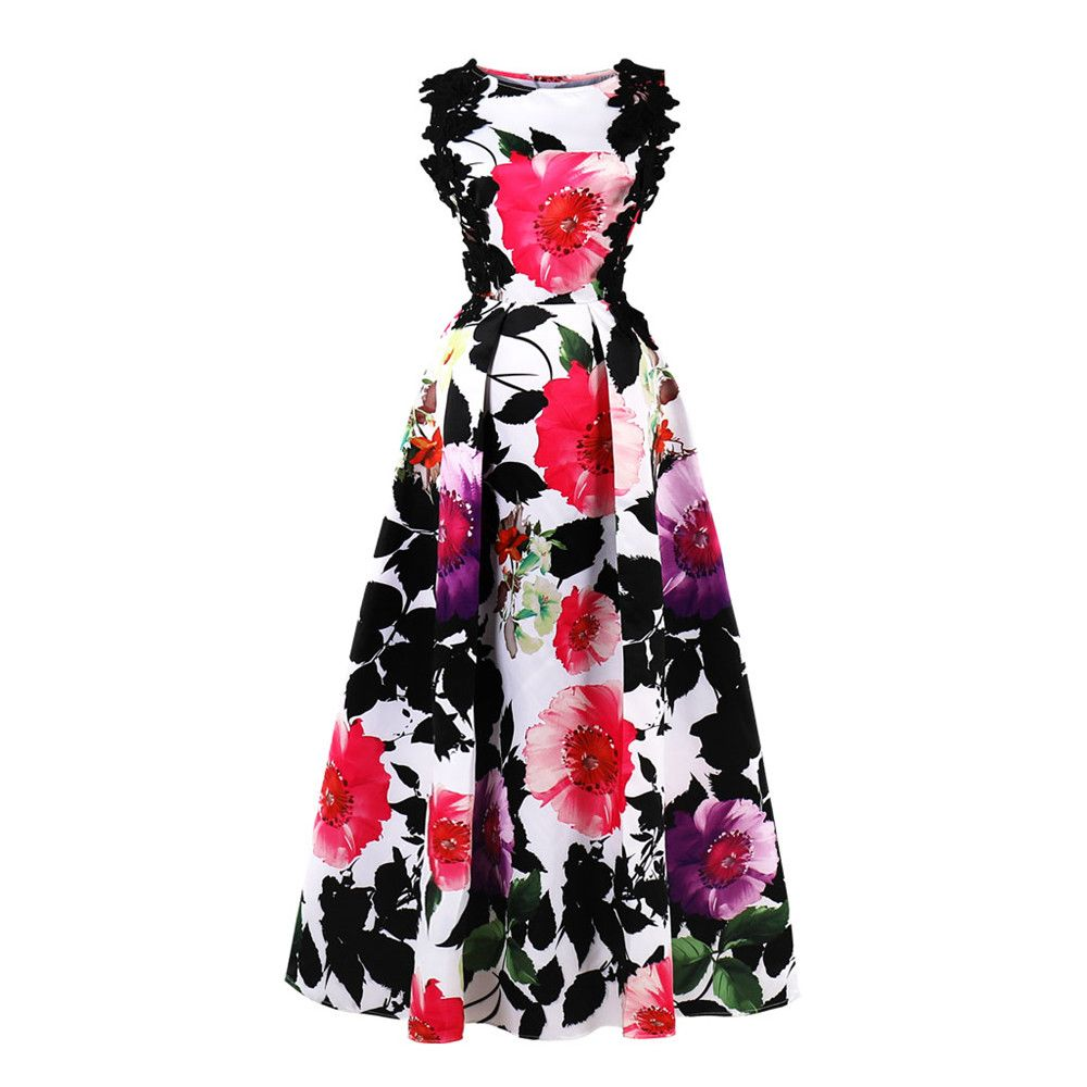 Woman Plus Size Maxi Dress Big Size Floral Printing Dresses Sleeveless Long Evening Vestidos Party Elegant Lace Binding Clothes