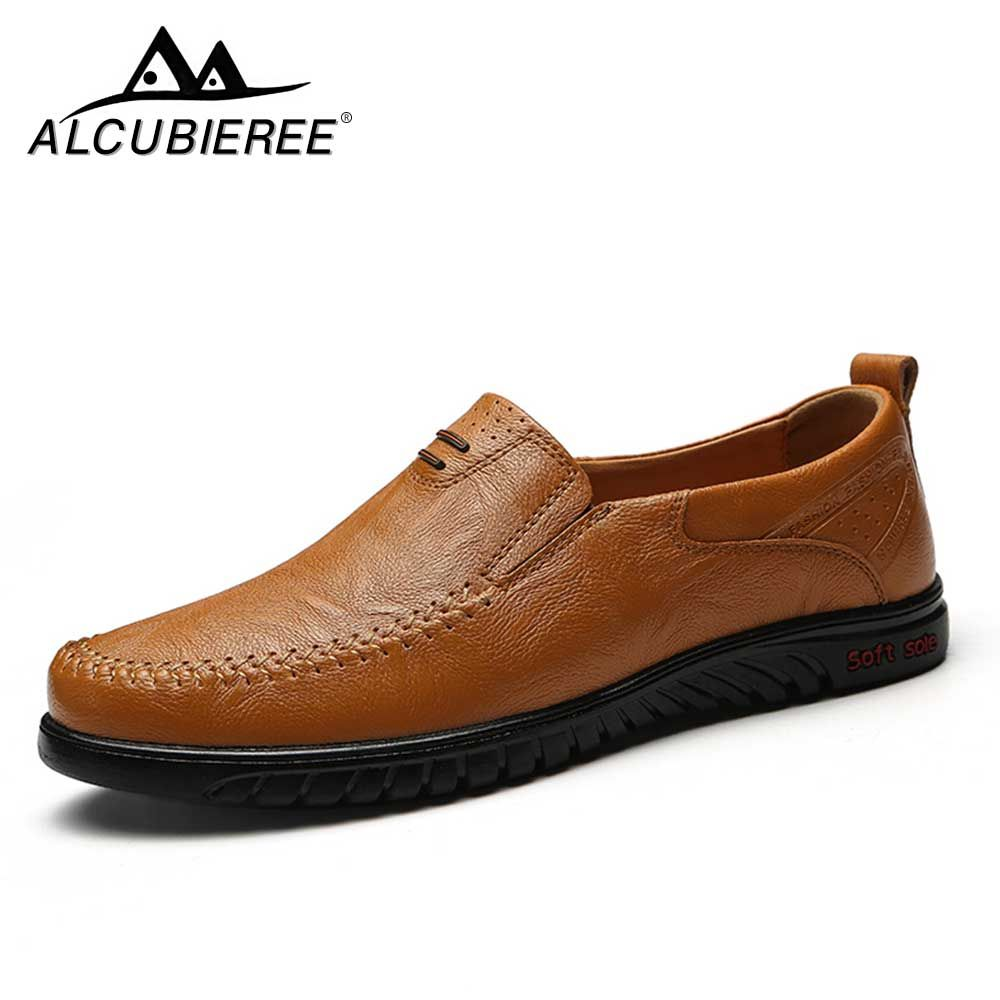 ALCUBIEREE Men Casual Shoes Leather Slip-on Breather brand Men Shoes High Quality Comfortable Summer Sapato Masculino
