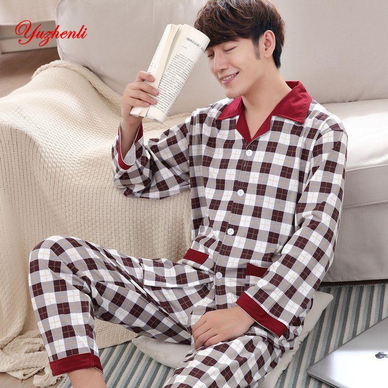 Yuzhenli осень пижамы мужские печати Повседневная Плюс Размеры хлопковое ночное белье Mens Lounge одежда домашняя зимняя Пижама Плюс XXXL