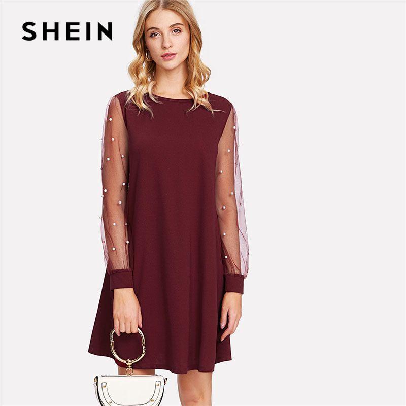 SHEIN Burgundy Pearl Beading Mesh Sleeve Sheer Dress 2018 Women Round Neck Long Sleeve Casual Dress Spring Shift Short Dress