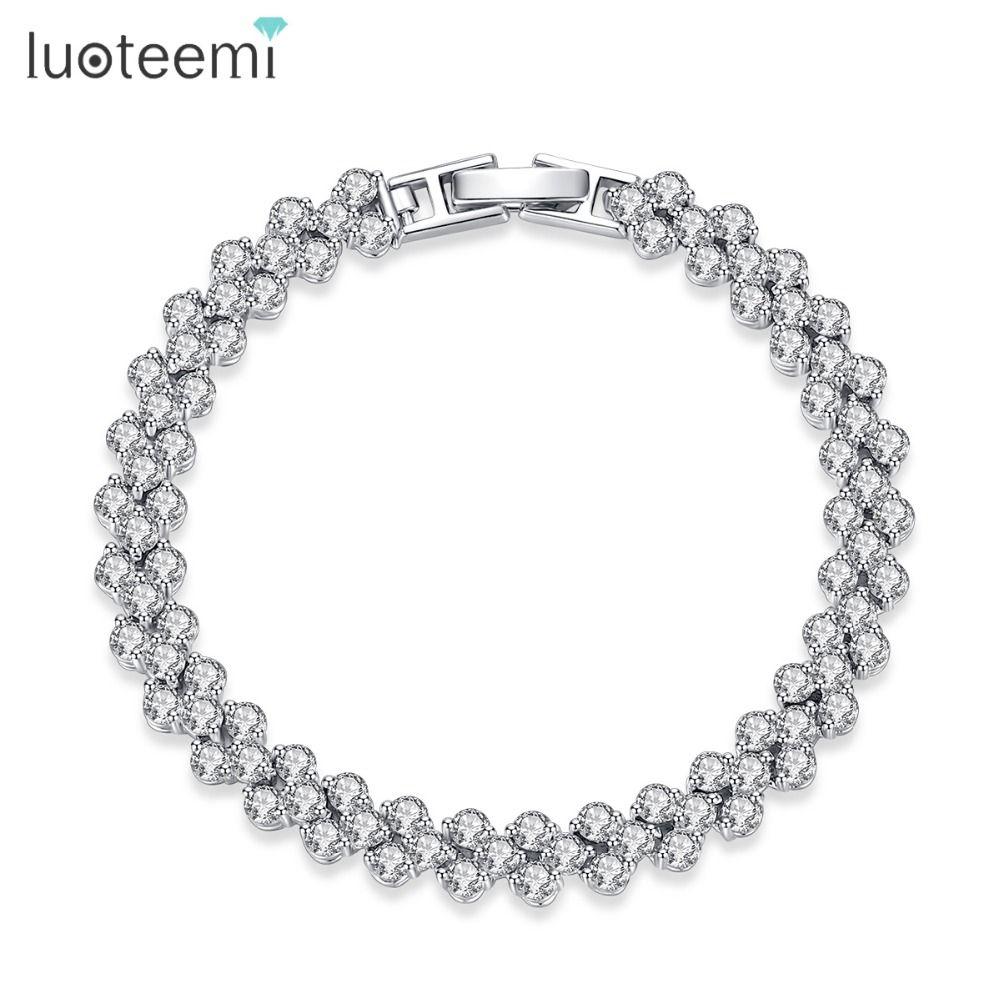 LUOTEEMI Hot Selling Roman Chain Bracelet for Women Luxury 2.75mm Cubic Zircon Inlay <font><b>Charm</b></font> Bracelet Bride Wedding Jewelry