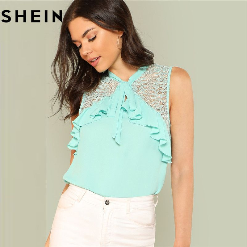 SHEIN Women Sleeveless Lace Tied Neck Ruffle <font><b>Green</b></font> Casual Tops And Blouses 2018 Summer Elegant Office Work Lady Blouse Clothing