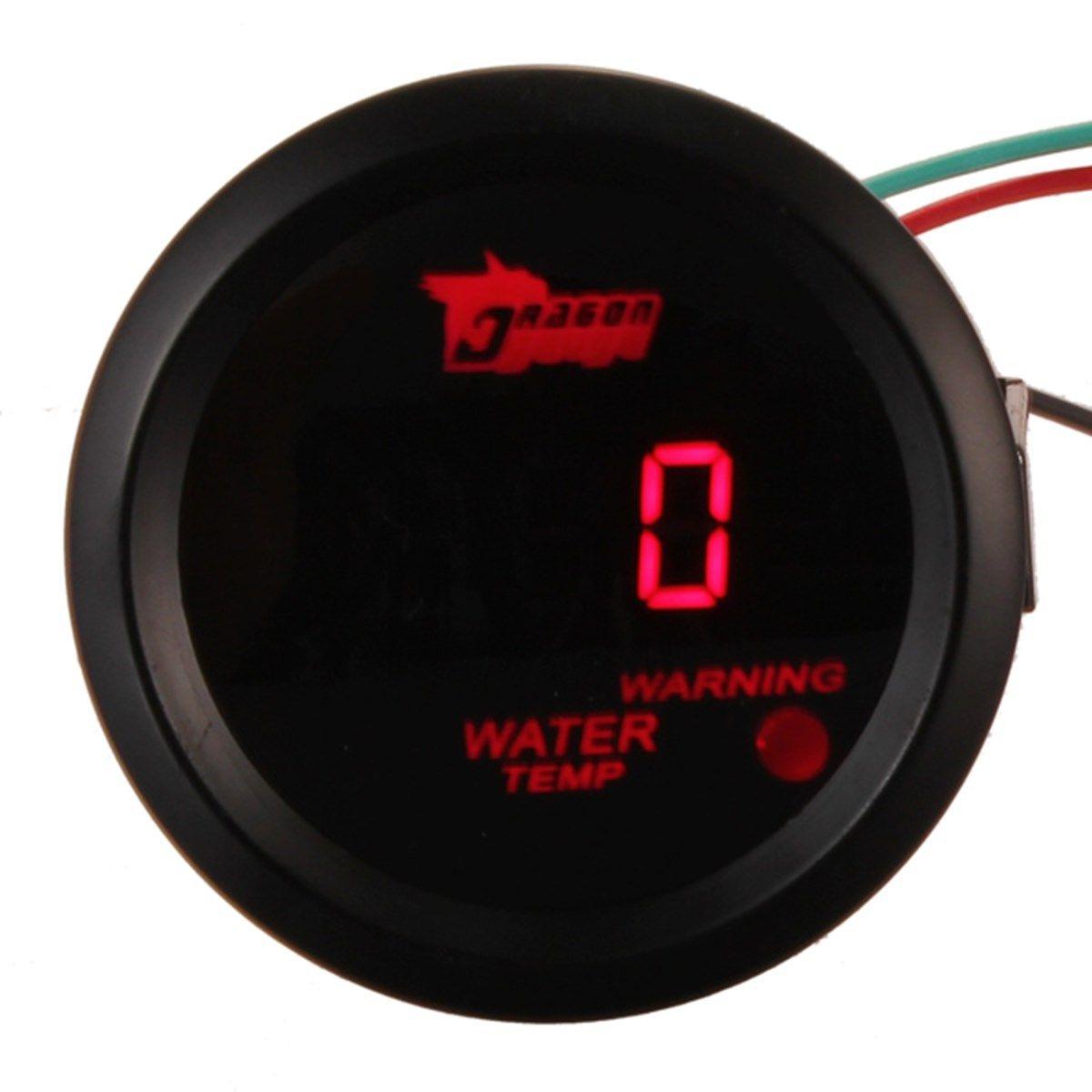 Car Auto Motor 2 Inch 52mm Red Digital Water Temp Gauges Temperature Celsius Gauge Black