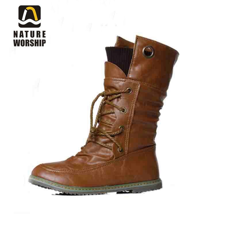 Mode femmes chaussures bottes d'hiver bottes en cuir souple bottines moto solide bottes chaussures plates taille 34-43 pour les femmes