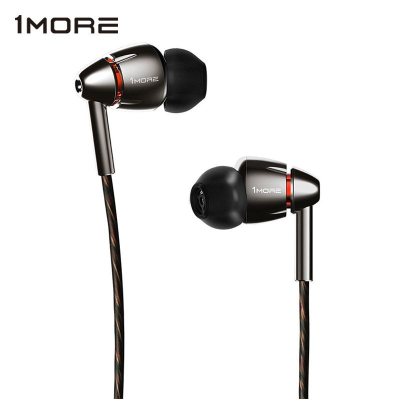 1MORE Quad Driver E1010 In-Ear Earphone Earbuds with Apple iOS and Android Compatible Microphone and Remote (Titanium)