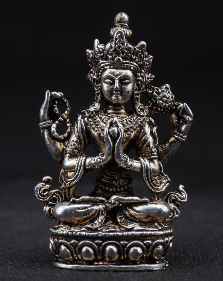 Chinois travail manuel vieux miao argent sculpté merveilleux bouddha statue en métal artisanat en métal artisanat