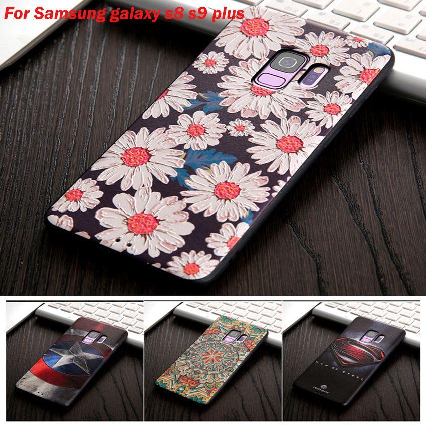 Pour Samsung Galaxy s8 s9 téléphone cas 3D peint reliefs couverture arrière de silicium Pour Samsung s8 s9 Plus Cas