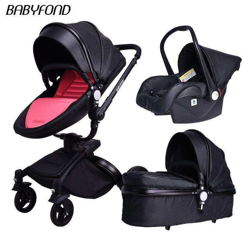Schwarz rahmen babyfon Marke Top Verkauf Baby Kinderwagen 360 Drehen Hohe Qualität Leder Weiß Schwarz Farbe 3 In 1 Wagen viele farben