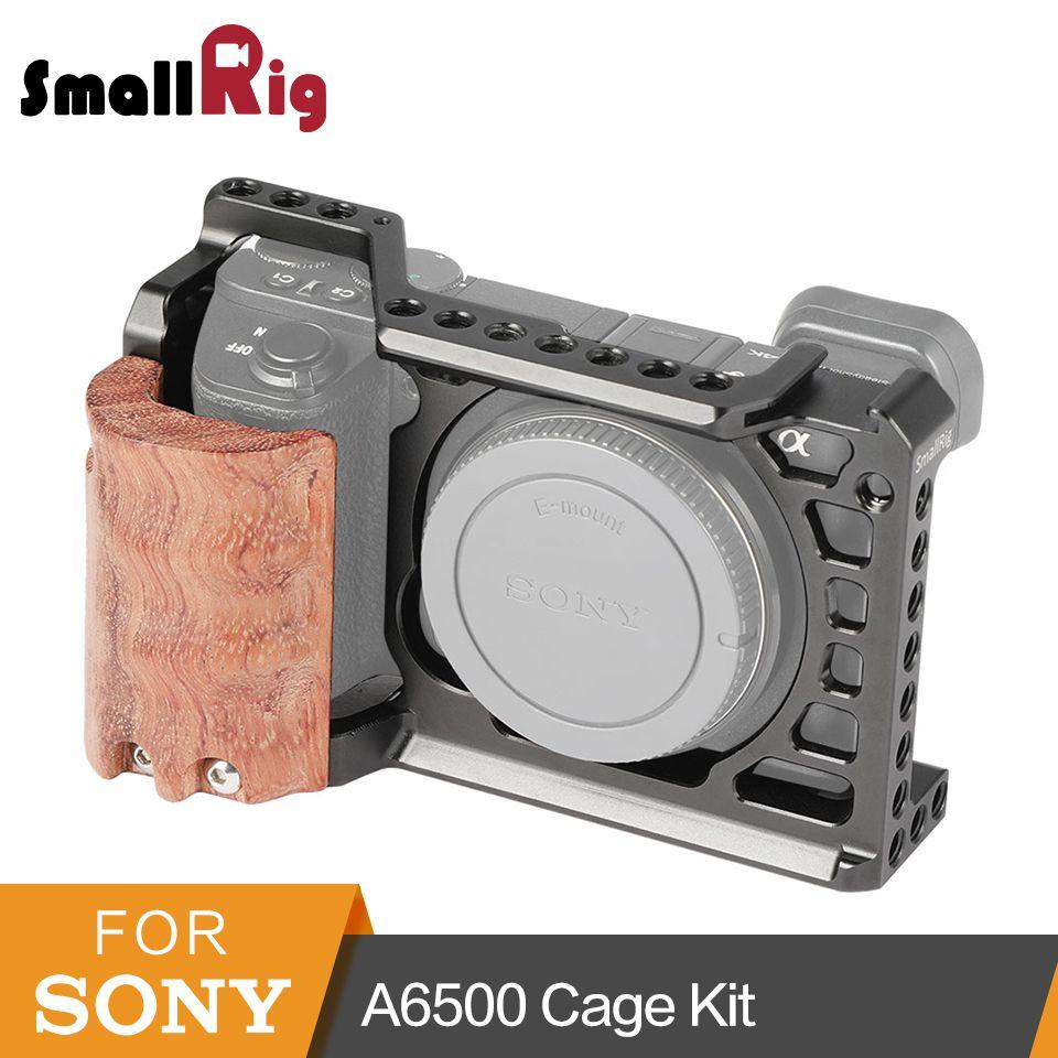 SmallRig A6500 Käfig mit Holz Hand Grip für Sony Alpha A6500/ILCE-6500 Kamera Käfig Schnelle Release Montage Kit- 2097