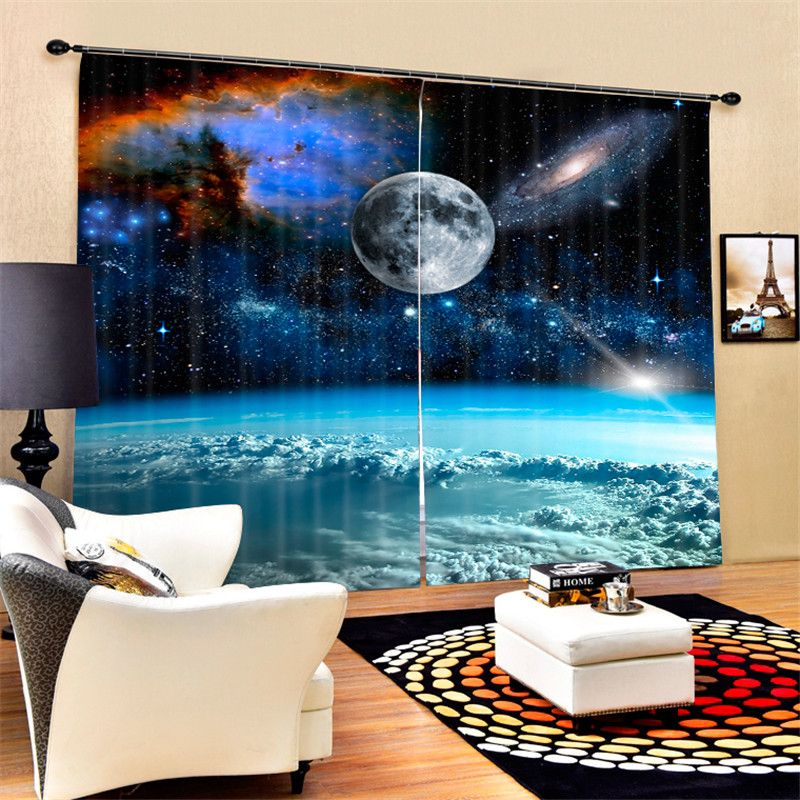 Outer space Galaxy Luxury Blackout 3D Curtains For Living room Bedding room Office Drapes Cotinas para sala