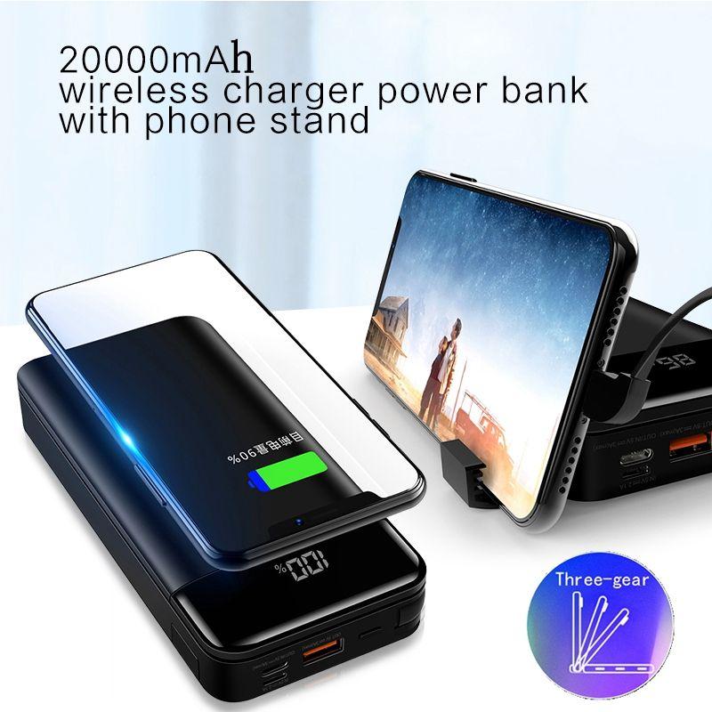 LINGCHEN Power Bank 20000 mah Drahtlose Schnell Ladegerät Power Ultra-dünne Tragbare Polymer Ladegerät Qi Mobile Ladegerät für iphone
