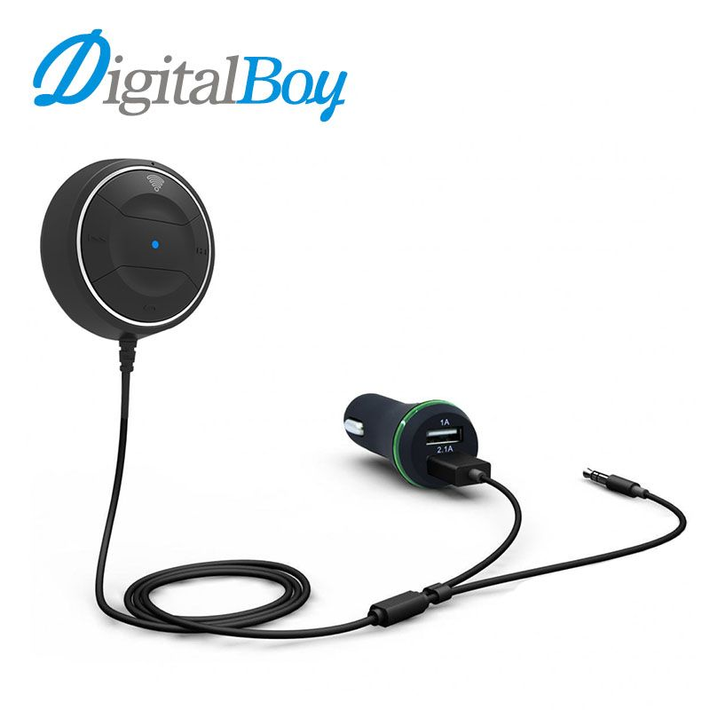 Digitalboy Bluetooth Hands-free 3.5mm AUX Receiver Adapter Bluetooth Car Kit Audio Music with USB Car Charger for iphone Samsung
