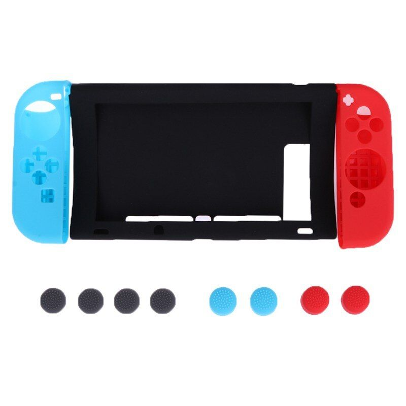 11pcs/Set Newest Anti-slip Silicone Cover Skin Case Protection Kit for Nintend Switch Console Joy-Con Controllers Silicone Cover