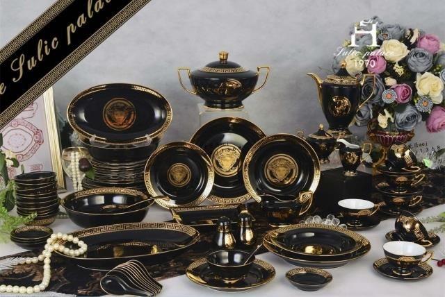 Столовая посуда наборы костяного фарфора моды Запад посуда пластины и чашки кофе наборы