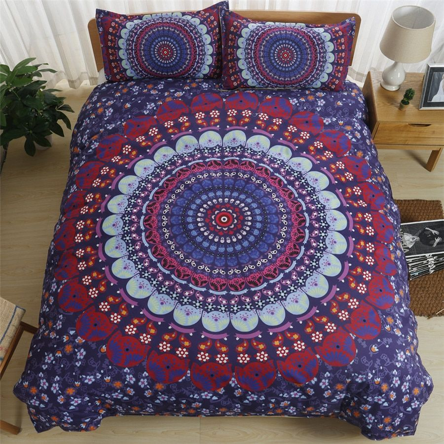 Traditional Indian Bohemian Doona Reversible Duvet Cover Set with Pillowcase Bedclothes Mandala Bedding Twin Full Queen King