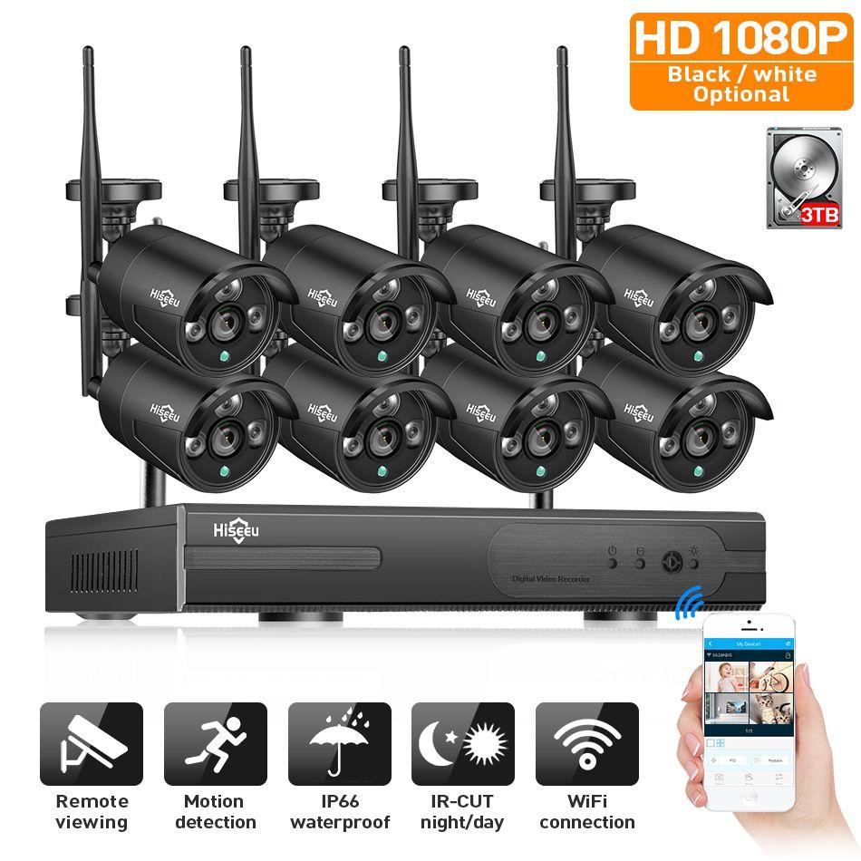 2MP CCTV System 1080P 8ch HD Wireless NVR <font><b>kit</b></font> 3TB HDD Outdoor IR Night Vision IP Wifi Camera Security System Surveillance Hiseeu