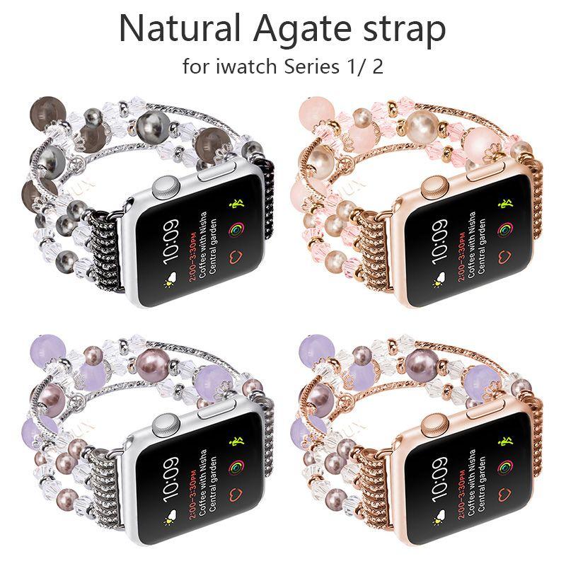 FOHUAS Highquality Naturel Gris agate bande pour Apple montre Remplacement De poignet de femmes de mode Dragonne Avec Adaptateurs 38mm 42mm
