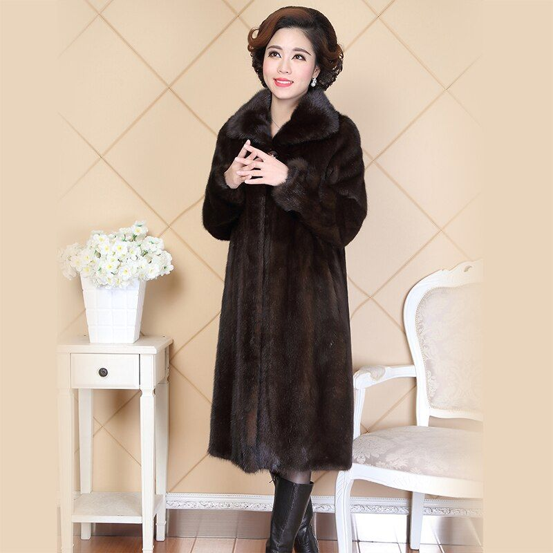 Nerazzurri Real Mink Fur Coat For Women China Turn-down Collar Long Luxury Ladies Russian Natural Mink Coats Plus Size 5XL 6XL