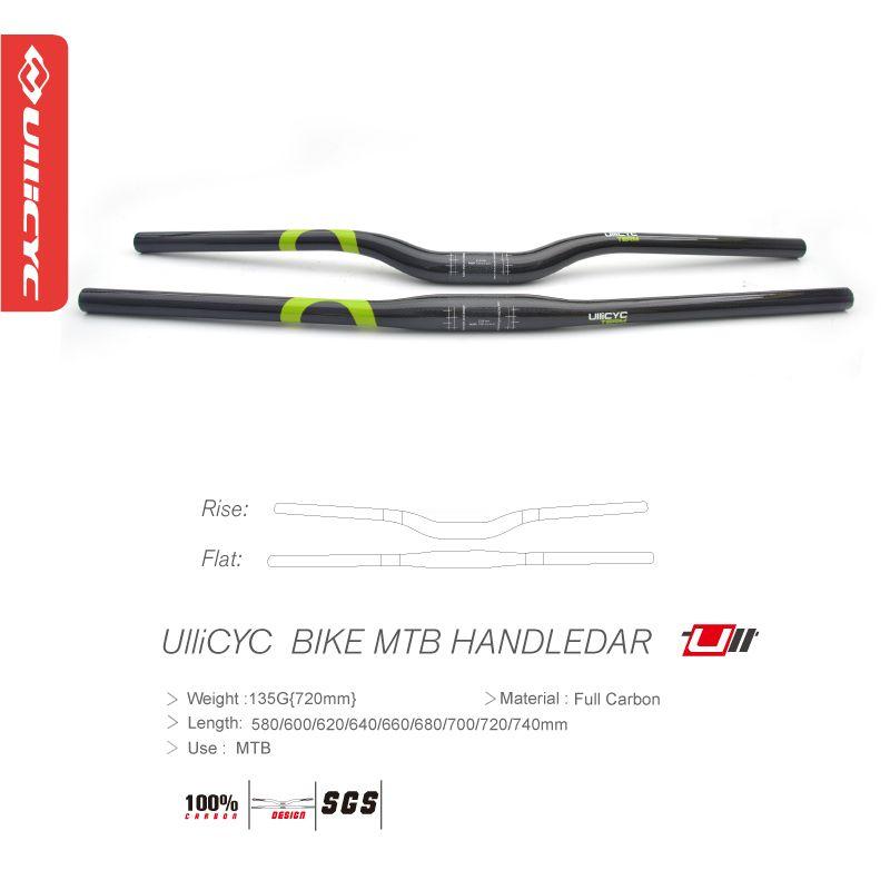 Free ship Ullicyc Mountain Bike 3K Full Carbon Bicycle Handlebar Bike Parts Green 5 degree/9 degree 31.8*580mm~740mm CB230
