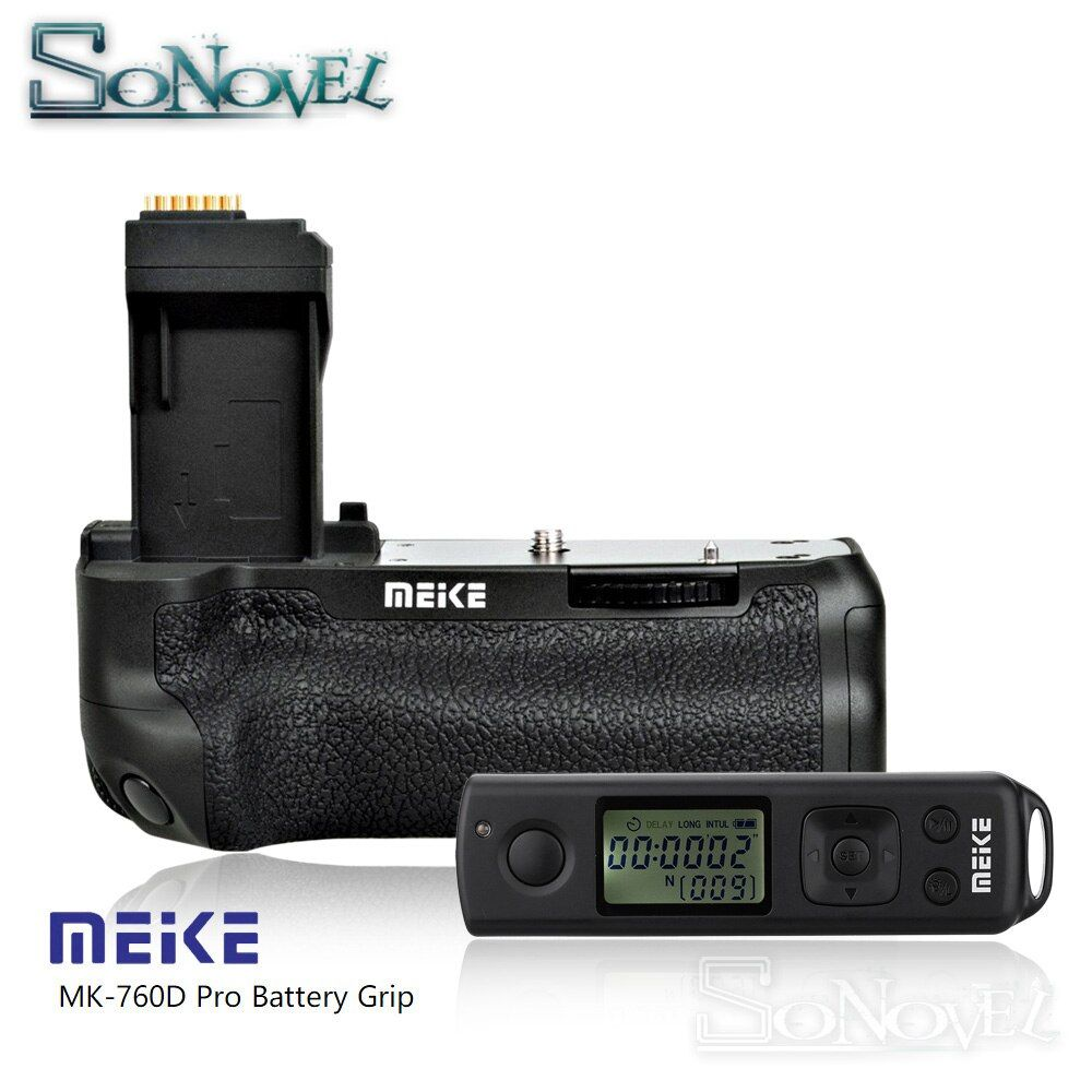Meike MK-760D Pro Built-in 2.4G Wireless Remote Control Vertical Battery Grip for Canon 750D 760D Rebel T6i T6s LP-E17 as BG-E18