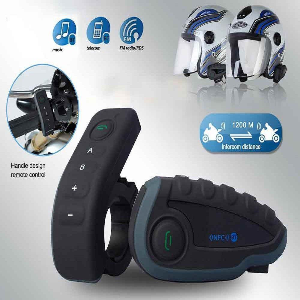 New Motorcycle Helmet Intercom 1200M USB FM Bluetooth V3.0 Multi Interphone Headsets Kits for 6 Rider Motorcyclist Skiers