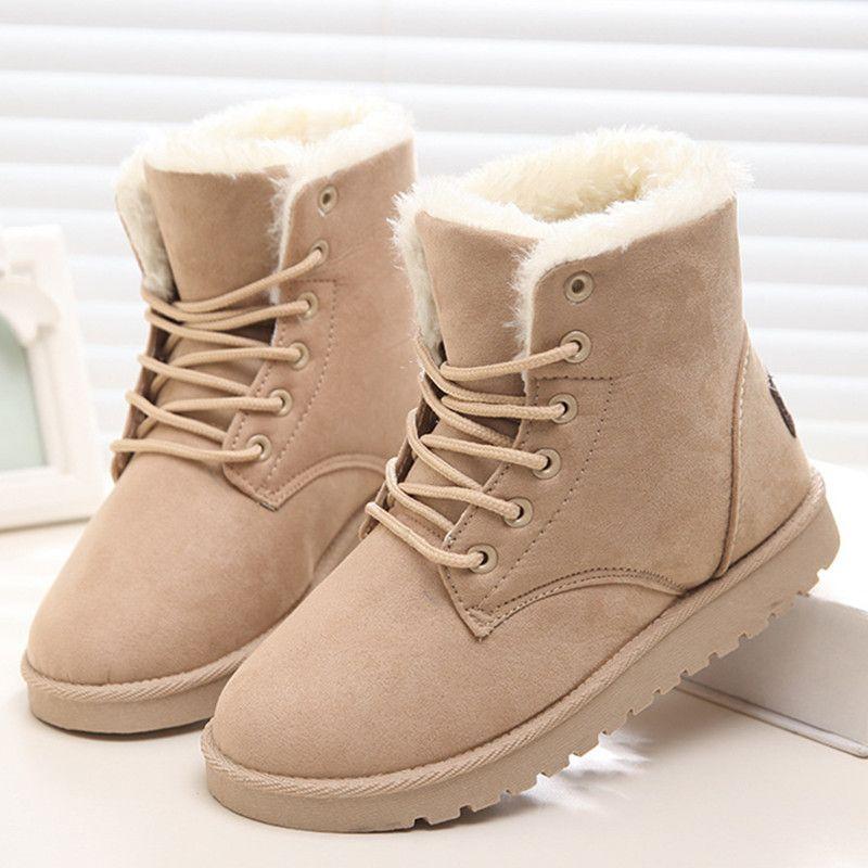 Классические женские зимние ботинки замшевые зимние сапоги, ботильоны женские Обувь на теплом меху плюшевые стелька Высокие Качественные ...