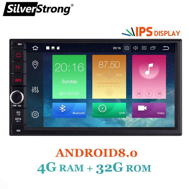 SilverStrong 7''IPS LCD Double Din Android8.0-8.1 universal 2Din DVD Android Car GPS Radio Universal 7inch auto Stereo 2din 706