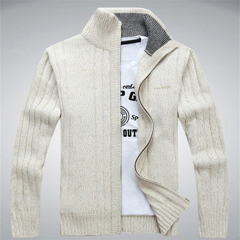 NIANJEEP Chandails Laine Pull En Coton Hommes chandail cardigan Hiver Automne Chandail Hommes Sweatercoats 203