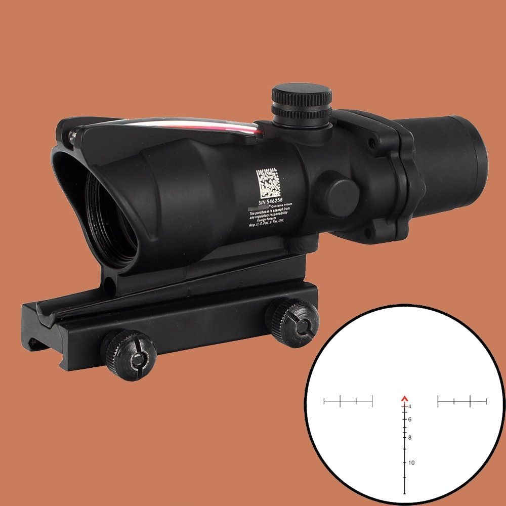 ohhunt Hunting Riflescope ACOG 4X32 Real Fiber Optics Red Green Illuminated Chevron Glass Etched Reticle Tactical Optical Sight