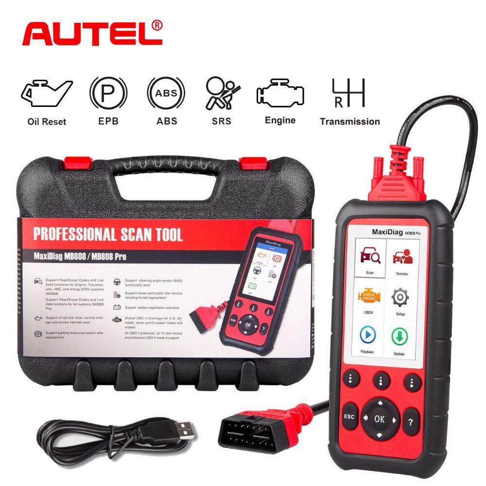 Autel MD808 Pro Car Diagnostic Tool OBD2 Code Reader Scanner EPB ABS SRS DPF for Oil and Battery Reset Registration OBD Scanner