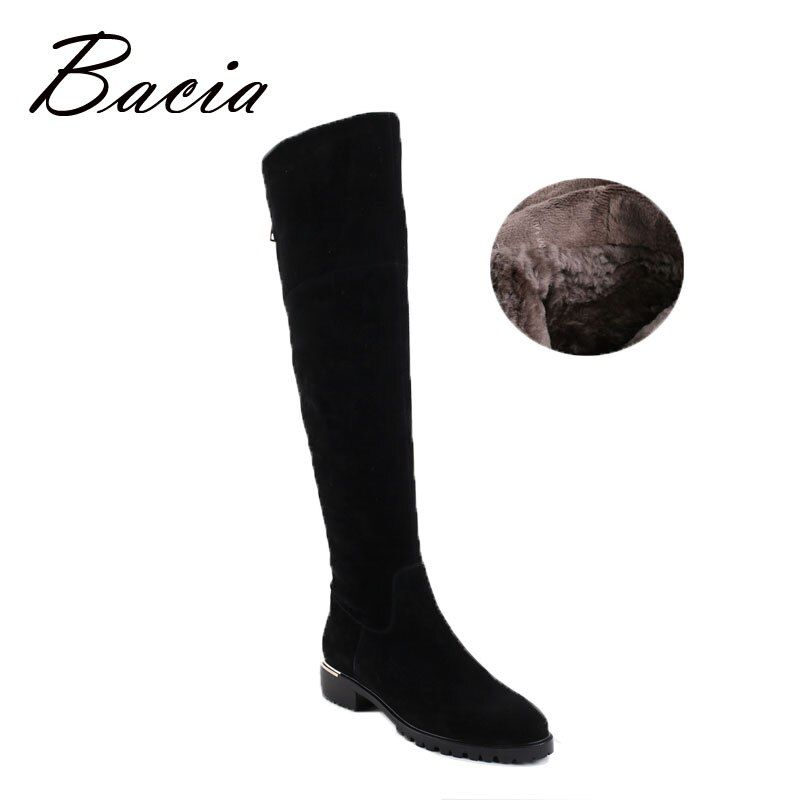Bacia Fashion Black Over Knee Boots Suede Leather Boots With Warm Plush Handmade High Quality Classical Botas Women Shoes VC003