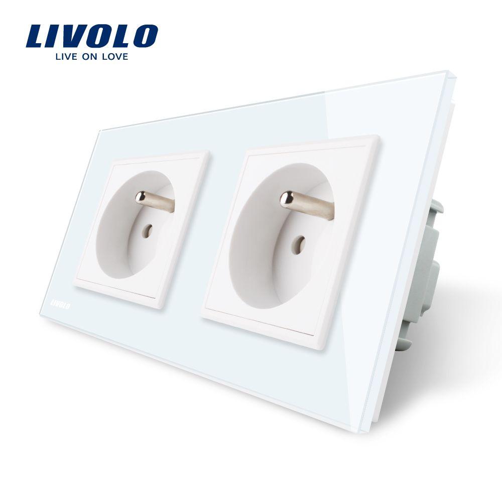 LIVOLO 16A French Standard, Wall Electric / Power Double Socket / Plug, Crystal Glass Panel,VL-C7C2FR-11/12/13/15