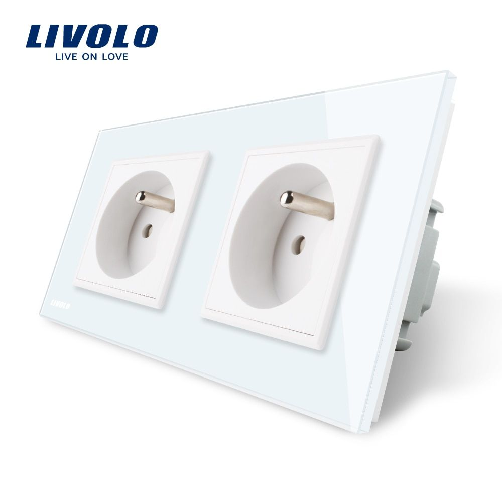 LIVOLO 16A French Standard, Wall Electric / Power Double Socket / Plug, <font><b>Crystal</b></font> Glass Panel,VL-C7C2FR-11