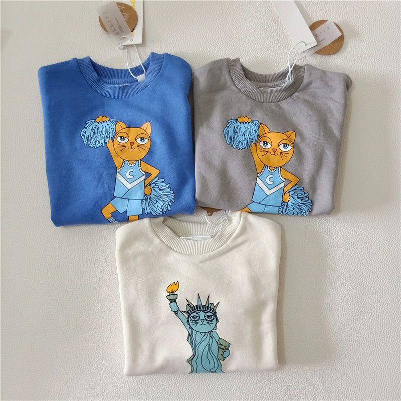 BOBOZONE Cheercats Sweatshirt Grey Blue Liberty sweatshirt White for kids baby girls boys bobo choses