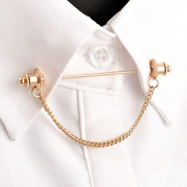 2017 Brooch Unisex Broche Brooches Brooch Trendy The New Hot Fashion Shirt Collar Pin Chain Tassel Retro Metal Bar Accessories
