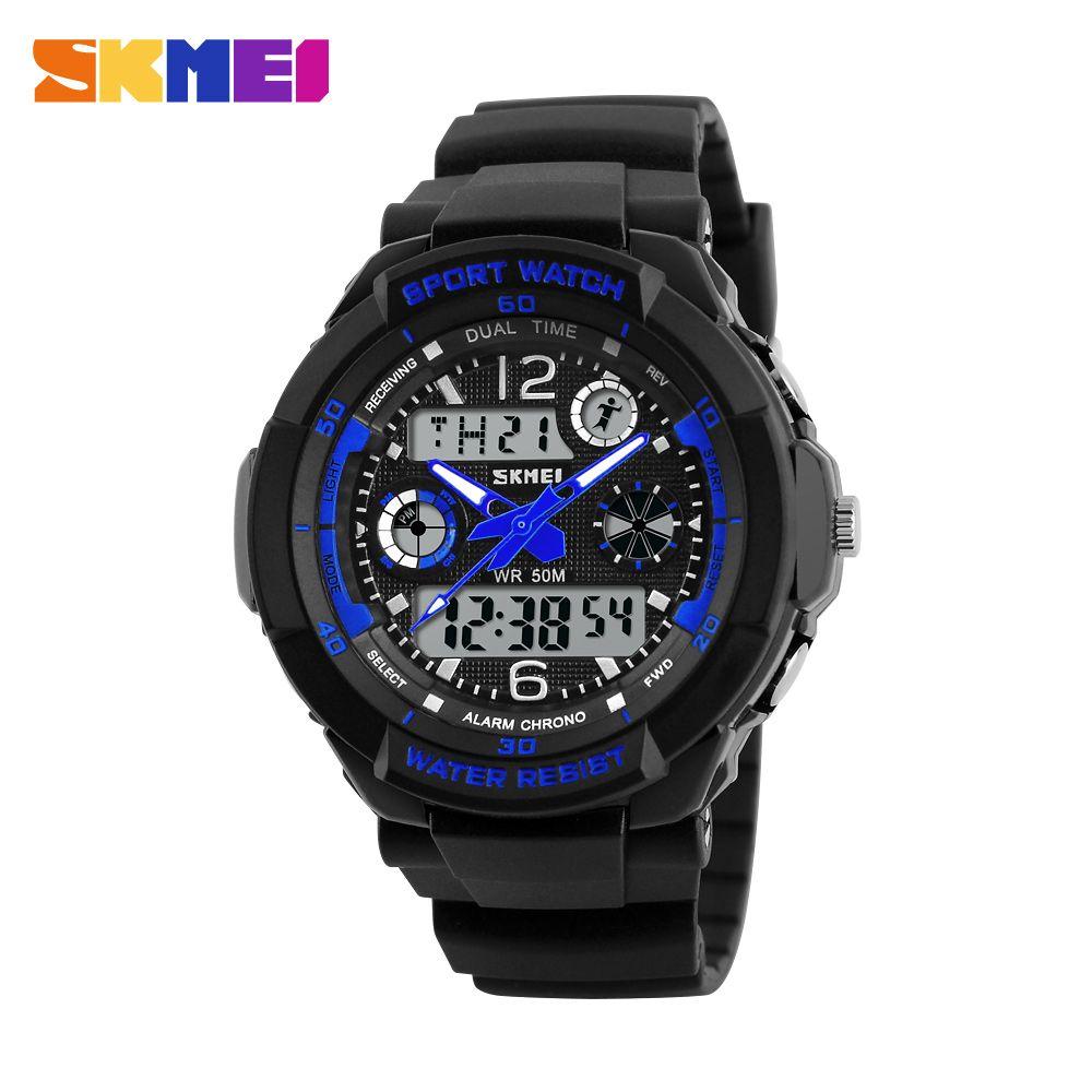 Skmei niños de la marca de relojes deportivos 50 m impermeable moda casual muchacha de los muchachos de cuarzo reloj digital led multifunción relojes de pulsera