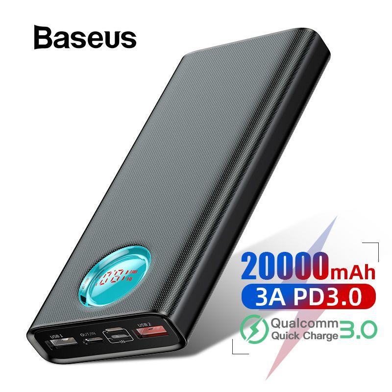Baseus batterie externe 20000 mAh Charge rapide 3.0 PD Charge rapide Powerbank Portable chargeur de batterie externe appauvrbank pour Xiaomi