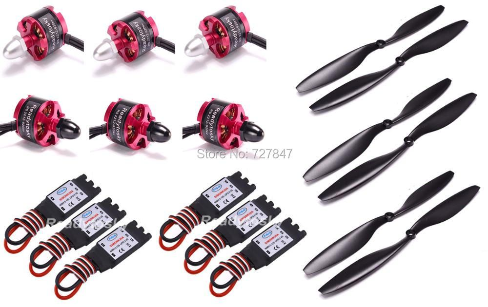 6 X 2212 920KV CW CCW Brushless Motor + 6 X 30A Simonk ESC with 3.5mm Connector + 1045 Prop for F450 F550 S550 F550 Multicopter