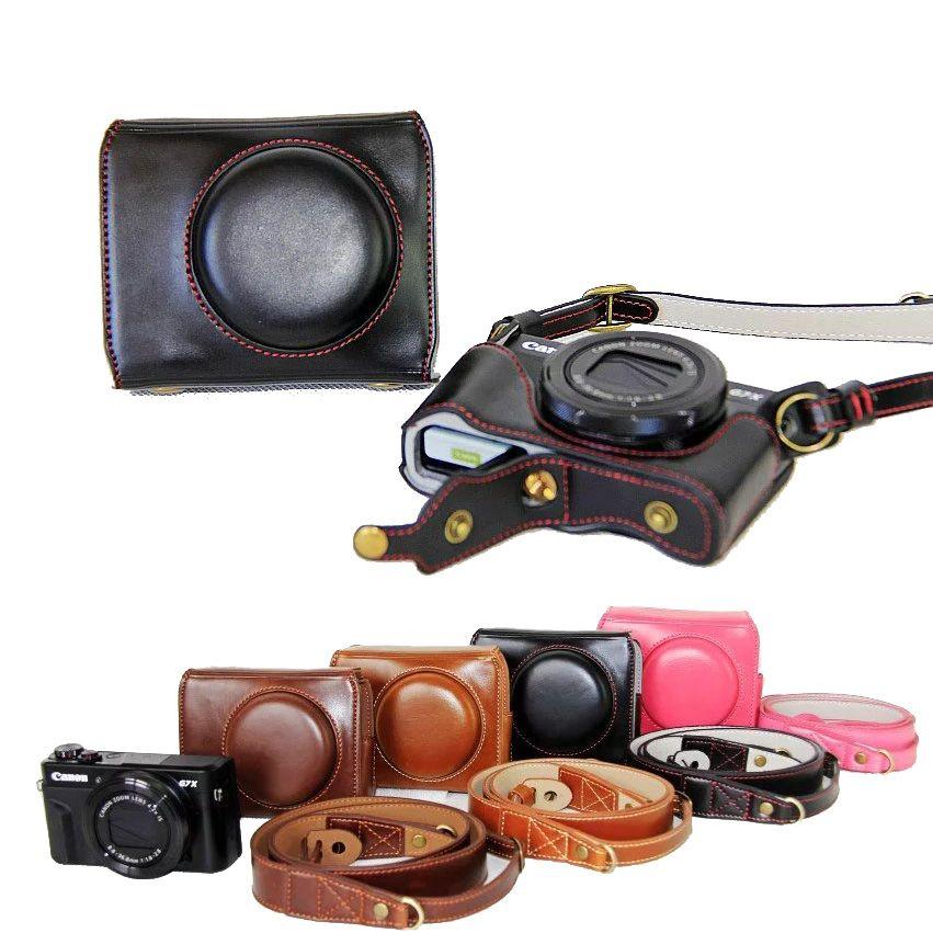 Nueva caja de cuero de lujo de la cámara para Canon PowerShot G7X marca 2 G7X II G7X2 cámara digital pu cuero Cámara bolsa cubierta + correa