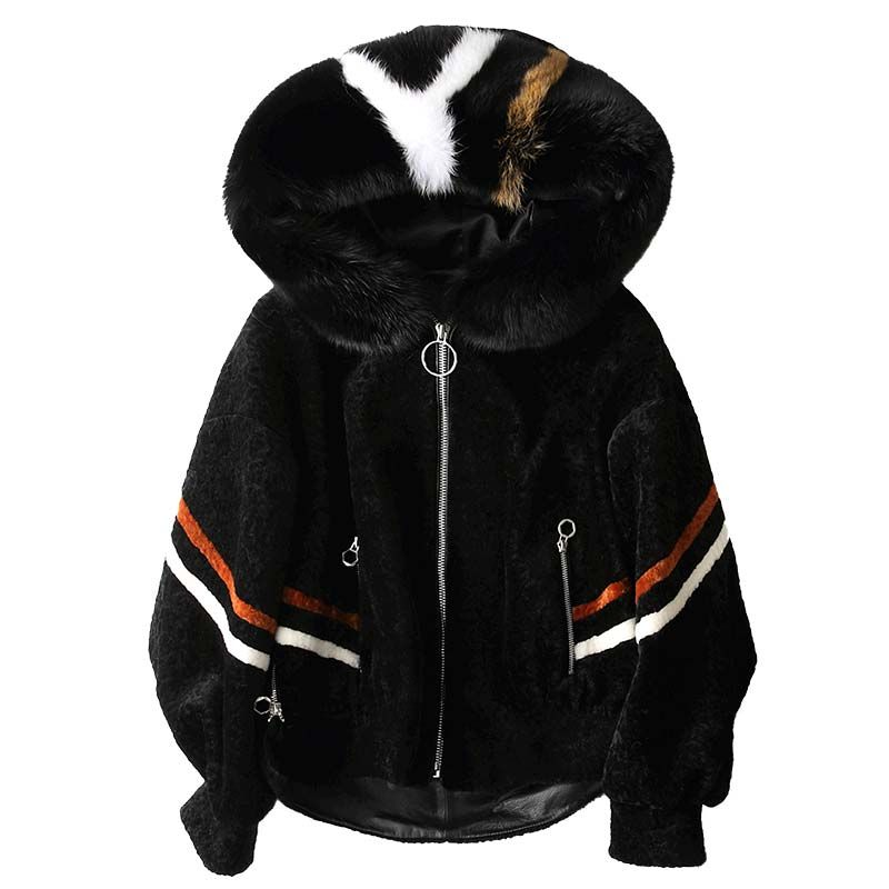 Real Fur Coat 2018 Winter Coat Women Fox Fur Collor Jackets Lambswool Fur Wool Jacket Korean Slim Short White Women Tops ZT346