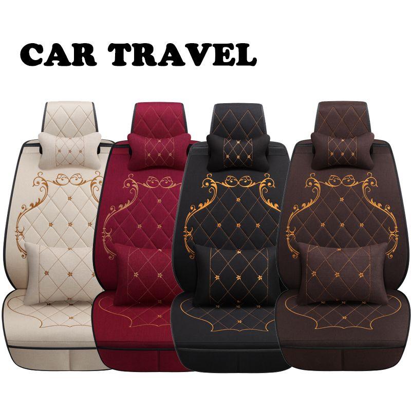 Flax car seat covers for Nissan Qashqai Teana Tiida X-tral Note car cushion car accessories Automobiles seat cover