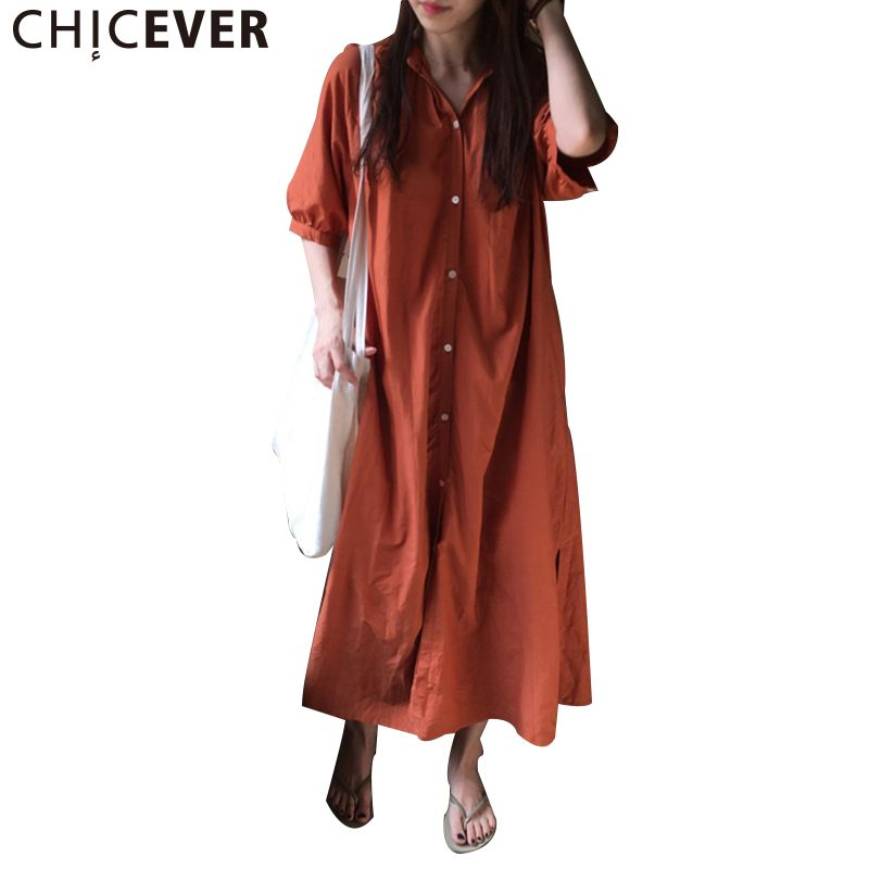 CHICEVER 2017 Summer Dress Female Tunic Half Sleeve Loose Hem Split Long Lace Up Women Dresses Clothes Fashion Vestidos Casual