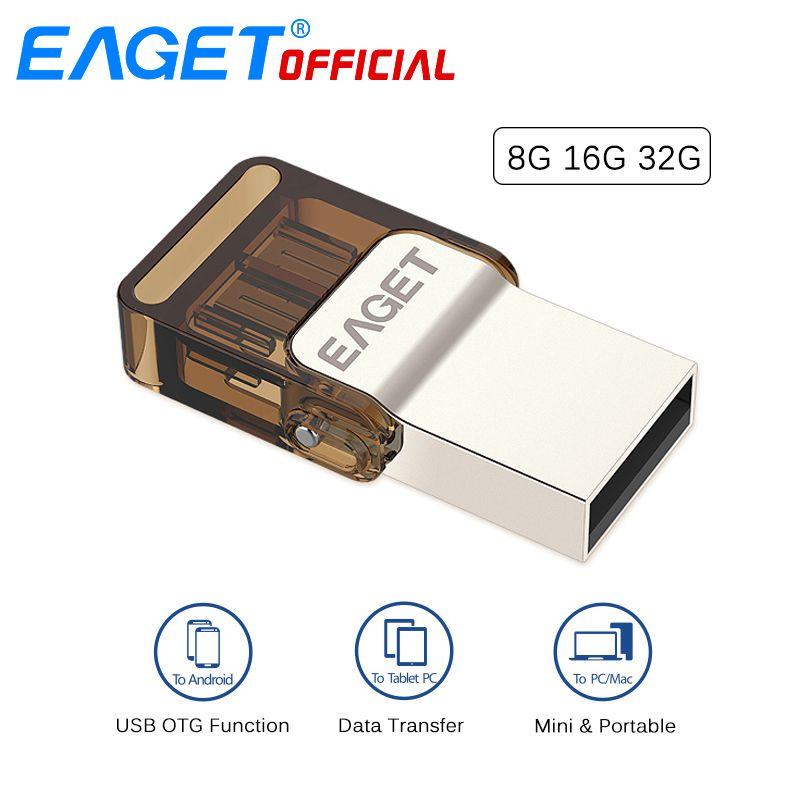 EAGET Micro USB OTG USB Flash Drives Stylo Lecteur 32G Pendrive 16 GB 8 GB Memory Stick Stockage Externe pour Xiaomi Téléphone Portable PC