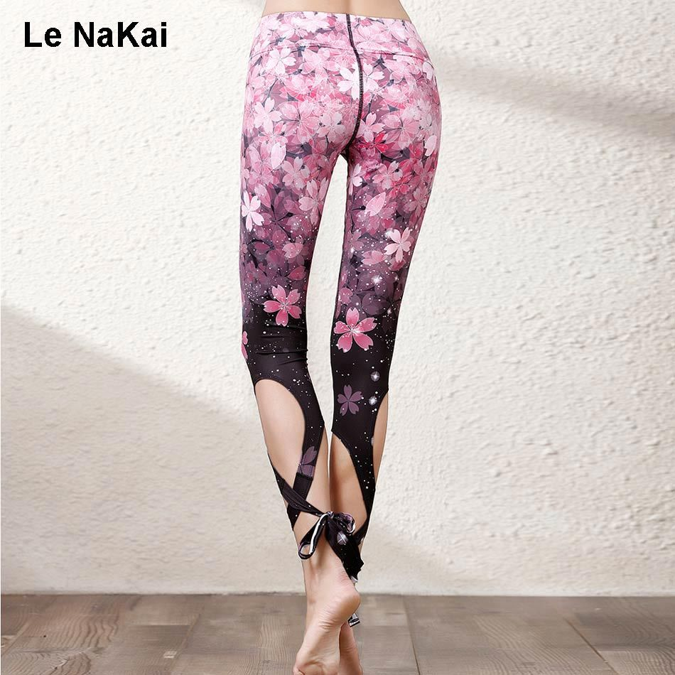 Ornamental Sakura Floral Print Bandge Ballet Spirit Yoga Pants for Women Fitness Turnout Dance Legging Workout Cross Dance Pants
