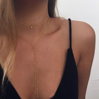 2017 Simple Gold Silver Color Chain Choker Necklace Long Beads Tassel Chocker Necklaces For Women collar collier ras du cou