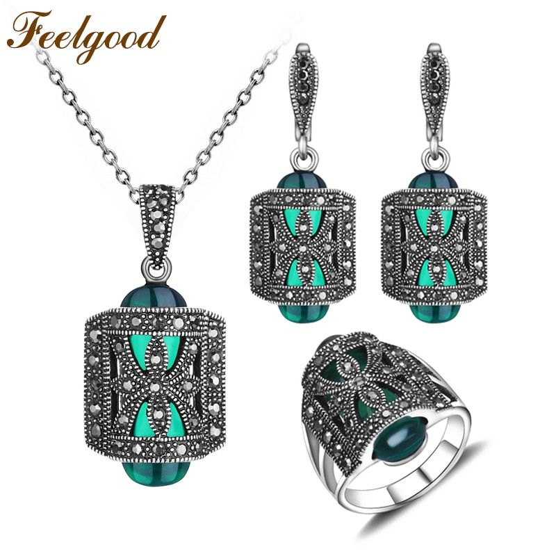 Feelgood Unique Antique Silver Color Jewellery Set Green Resin And <font><b>Rhinestone</b></font> Fashion Vintage Jewelry Sets For Women Mother Gift